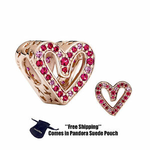 Authentic Pandora Charm 788692C02 Sparkling Ruby Red & Pink Freehand Heart