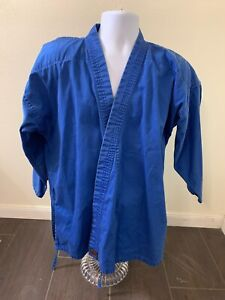 Macho Martial Arts Karate Uniform Blue Shirt Inner Button And Tie Size 4/180