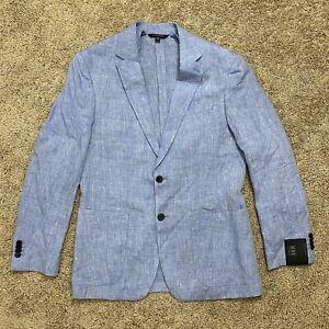 Banana Republic Slim Fit Linen Blazer Jacket Baltic Blue Men's Size 38R
