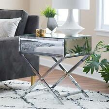 Mirrored Accent End Table Nightstand Mirror Chrome X Base Contemporary Modern