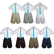 3pc Set BoyToddler Formal Party Turquoise Necktie White Black Khaki Shorts S-4T
