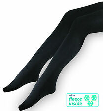 3x Damen Thermo Strumpfhosen mit Innenfleece Mikrofaser warme Winter Strumpfhose