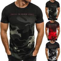 Homme Coupe Slim Col Rond Manches Courtes T-Shirt Muscle Décontracté Camouflage