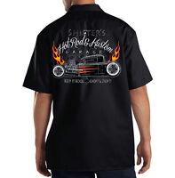 Dickies Black Mechanic Work Shirt Shifters Garage Hot Rat Rod Customs Chop Shop