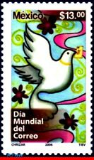 2527 MEXICO 2006 WORLD POST DAY, DOVE, BIRDS, STAMP DAY, MNH