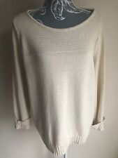 Papaya Womens Jumper Size 20 Cream Cotton 3/4 Sleeved Scoop Neck Side Split