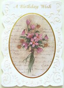 """Wishing You a Bouquet of Life's Sweetest Blessings"" BIRTHDAY CARD Antique Style"