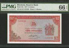 1977 Rhodesia 2 Dollars PMG66 EPQ GEM UNC <P-35c>