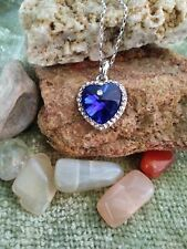 Pendant Necklace Made with Swarovski Crystals Sapphire Blue Heart of the Ocean
