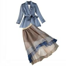 Hot Womens Occident Belted Slim Coat +organza Cake Skirt tailored suit Dress sz