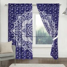 Blue silver floral mandala window cotton drapes hanging indian tapestry curtain