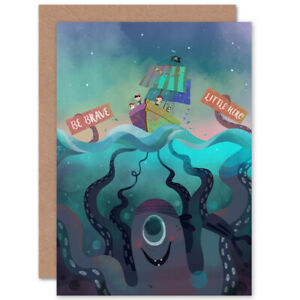 Pirates Octopus Be Brave Blank Greeting Card With Envelope