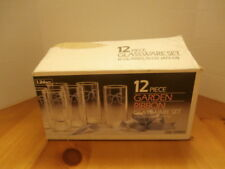 Libbey Glass 12 Piece Garden Ribbon Glassware Set In Box 16 Oz.