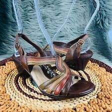 Bass Sz 8.5 Brown Multicolor Twist Biodegradable Wedge Ankle Strap Sandals Shoes
