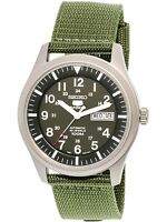 Seiko Men's 5 Automatic SNZG09K Green Nylon Self Wind Fashion Watch