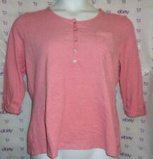 $60 XL Croft & Barrow tab roll sleeve frost pink knit Henley blouse pocket top