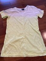 theory small womens yellow and white tee