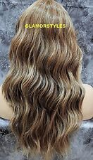 Long Layered Wavy Ash Blonde Brown Mix Full Lace Front Wig Heat Ok Hair Piece