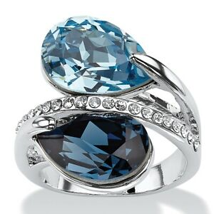 Silvertone Sky and London Blue Crystal Bypass Ring MADE WITH SWAROVSKI ELEMENTS