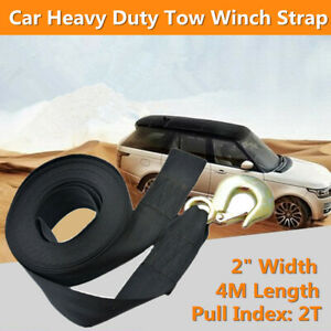"Car Heavy Duty Tow Winch Strap 2"" Rope Hook Boat Trailer Polyester Webbing Black"