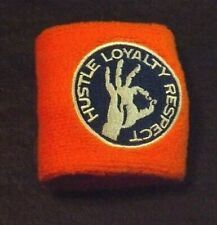 WWE JOHN CENA WRIST BAND ORANGE AND BLUE NEW NEVER USED 3 IN WIDE 6 IN UNSTRETCH