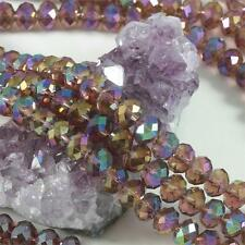 36 pcs 10mm Chinese Crystal Glass Loose Beads Faceted Rondelle Purple Quartz AB