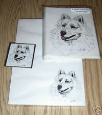 Samoyed Dog 3 Pc Set-Notepad, 6 Blank Notecards and Magnet New