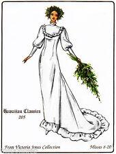 Classic Hawaiian Wedding Dress w/Train sz 8-20 Victoria Jones Sewing Pattern 205