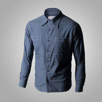 Repro WW2 US Navy Chambray Work Shirts Blue Naval Men's Cotton Workshirt Fatigue