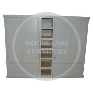 HANDMADE DEWSBURY QUAD 4 DRAWER WITH BOOKCASE IN WHITE (ASSEMBLED)