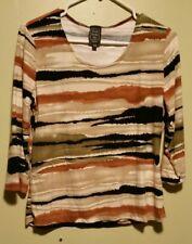 Suzie in the City Women's  Blouse, size P XL earthtones multicolored tiger print