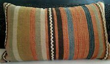 Kilim Pillow Striped Wool Boho Tribal Carpet Flat Weave Vintage Pottery Barn