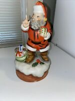 VINTAGE ENESCO WIND UP MUSICAL PORCELAIN SANTA CLAUS FIGURINE- Preowned