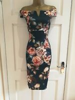 Womens Ladies New Summer Floral Blue Bardot Evening Bodycon Dress Size 8 - 14