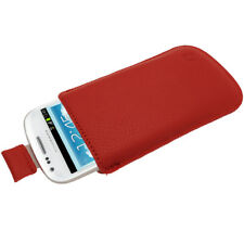 Rosso Pelle Pouch per Samsung Galaxy S3 Mini i8190 Custodia Case Cover