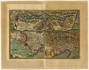 Antique Print-ROME-ITALY-FRIULI-LAKE COMO-Ortelius-1592