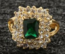 4.87 CT NATURAL EMERALD  & DIAMOND 14KT SOLID YELLOW GOLD RINGS SIZE7.5