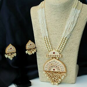 Indian Bollywood Gold Plated Kundan Pearl Necklace Earring Women Wedding Jewelry