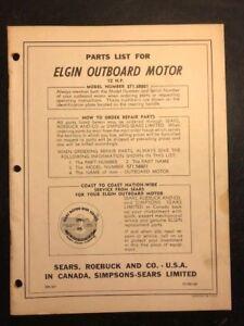 1958 SEARS ELGIN OUTBOARD MOTOR Parts List, 12 HP, Model #571.58801, SM367