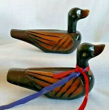 Vintage wood carved ducks figurine wedding pair couple set of 2 removable heads