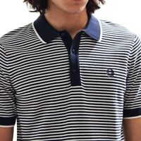 Fred Perry Mens Knitted Polo Shirt Navy White Stripe Cotton Short Sleeve Size M