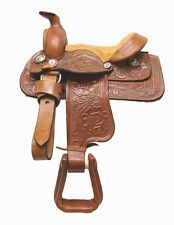 "8"" Miniture Pony Horse Riding Saddle Kid Children Genuine Tooled Leather Brown"