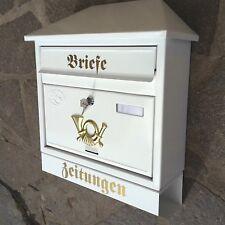 XXL Briefkasten Postkasten Weiß+Zeitungsrolle Wandmontage Nostalgie Zeitungsfach