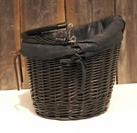 BIKE  BICYCLE WICKER SHOPPING BASKET AND HANDLE LINEN hand made, holder, BLACK