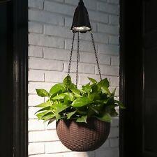 "Glitzhome 30"" Solar Lighted Hanging Plastic Basket Planter Pot Home Garden Decor"