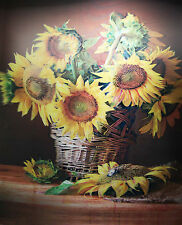 3D Lenticular Poster - SUNFLOWERS in a wicker Basket - 12x16 Print - Flowers