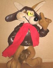 """RARE Looney Tunes Warner Brothers Willie Coyote 10"""" Plush Leather Jacket Cartoon"""