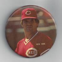 1980's REDS Pete Rose photo button stadium pin Cincinnati HIT KING