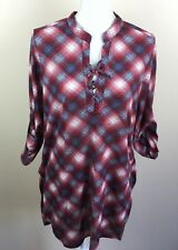 Almost Famous Womens Red Blue White Long Shirt/Dress Tie Neck Medium Large