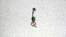 Green Stone Cobra Snake Gold Tone Belly Button Navel Ring Body Jewelry Piercing